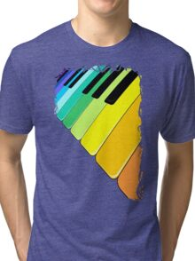 Piano Keyboard Rainbow Colors  Tri-blend T-Shirt