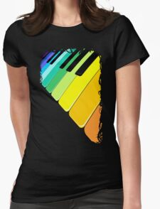 Piano Keyboard Rainbow Colors  Womens Fitted T-Shirt