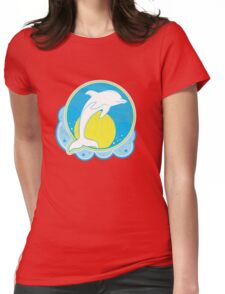 Dolphin Sun Yellow Womens Fitted T-Shirt