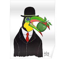 Toucan With Bowler Hat and Apple Poster