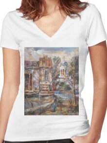 A Silent Afternoon Women's Fitted V-Neck T-Shirt