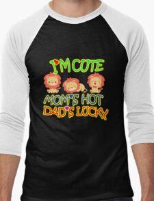 Im Cute Moms Hot Dads lucky Men's Baseball ¾ T-Shirt
