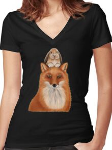 Fox with rabbit - best friends! Women's Fitted V-Neck T-Shirt