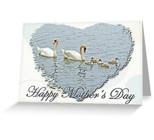 Mothers Day Card Mute Swan Family Greeting Card