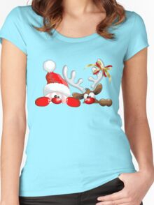 Funny Christmas Santa and Reindeer Cartoon Women's Fitted Scoop T-Shirt