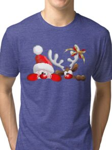 Funny Christmas Santa and Reindeer Cartoon Tri-blend T-Shirt
