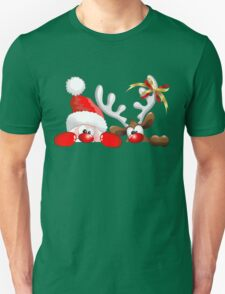 Funny Christmas Santa and Reindeer Cartoon Unisex T-Shirt
