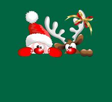 Funny Christmas Santa and Reindeer Cartoon Unisex T-Shirt