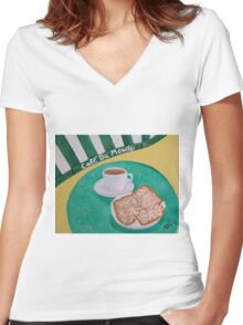 Coffee and Beignets Women's Fitted V-Neck T-Shirt