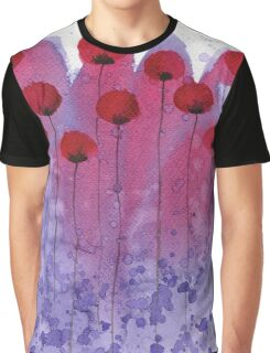 Heart Throb - Pink and Purple Ombre Watercolor Flowers Graphic T-Shirt