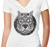 Pitbull Candy  Women's Fitted V-Neck T-Shirt