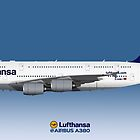 Illustration of Lufthansa Airbus A380 - Blue Version by © Steve H Clark