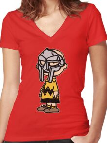 Charlie Brown Mask Women's Fitted V-Neck T-Shirt