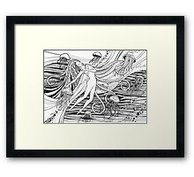 Woman with jellyfish into the ocean. Beautiful girl and waves and space universe. Mermaid.  Framed Print