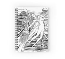 Woman with jellyfish into the ocean. Beautiful girl and waves and space universe. Mermaid.  Spiral Notebook