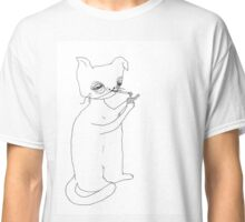Abstract portrait of smoking cat. Classic T-Shirt