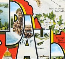 Vintage greetings from Idaho winter sports Sticker
