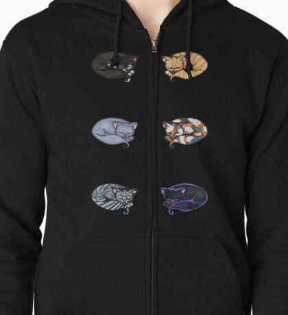 Watercolor Kitties Zipped Hoodie