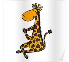 Cool Funny Funky Giraffe doing Yoga Poster
