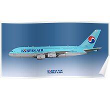 Illustration of Korean Air Airbus A380 - Blue Version Poster
