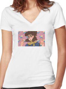 Doki Doki no Disco Women's Fitted V-Neck T-Shirt