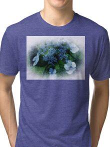 Blue Hydrangea - Watercolor effect Tri-blend T-Shirt