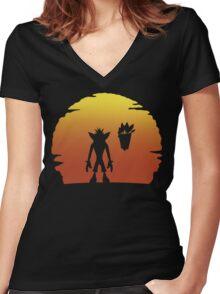 Crash on Sunset Women's Fitted V-Neck T-Shirt
