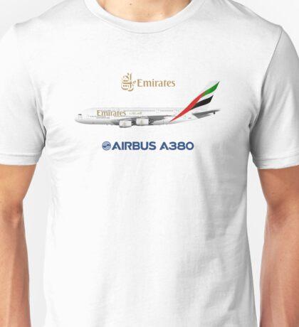 Illustration of Emirates Airbus A380 - White Version Unisex T-Shirt