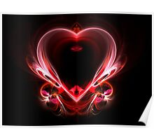 flying heart on a dark background.  Poster