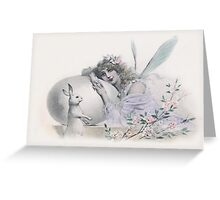 The White Rabbit and the Fairy - Vintage Anthropomorphic Art Greeting Card