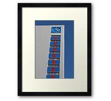 blue clock tower Framed Print