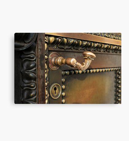 ancient  door closes Canvas Print