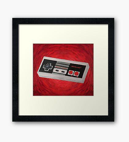Red Impressionist Nintendo NES Controller Framed Print