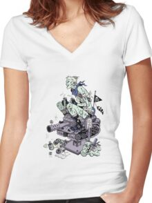 Tank Rides 25 Cent Women's Fitted V-Neck T-Shirt