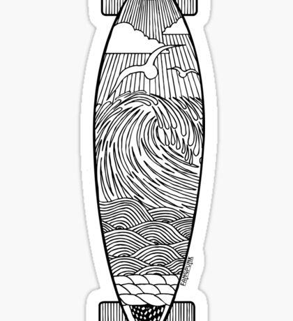 Longboard Wave T Shirt Sticker