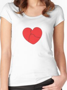 Stitched Heart_Red Women's Fitted Scoop T-Shirt