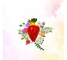 Blooming Strawberry Photographic Print
