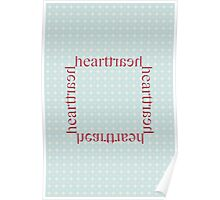 """Red """"heart traeh"""" on Vintage Blue and Ivory Lace Pattern Poster"""