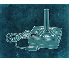 Distressed Atari Joystick - BlueGreen Photographic Print