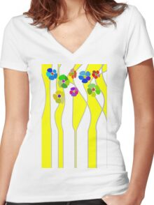 Flowers over yellow Women's Fitted V-Neck T-Shirt