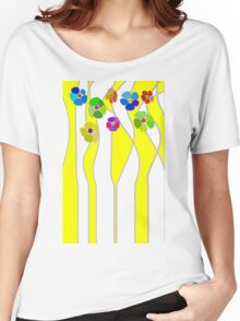 Flowers over yellow Women's Relaxed Fit T-Shirt