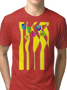 Flowers over yellow Tri-blend T-Shirt