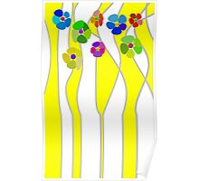 Flowers over yellow Poster