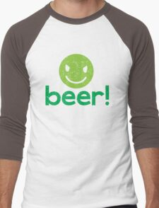 Beer! with cute evil smiley face Men's Baseball ¾ T-Shirt