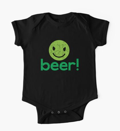 Beer! with cute evil smiley face One Piece - Short Sleeve
