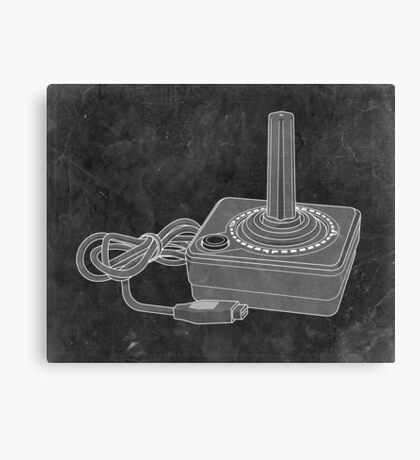 Distressed Atari Joystick - Black & White Canvas Print