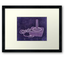 Distressed Atari Joystick - Purple Framed Print