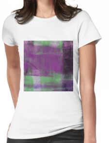 Purple, Green and black abstract painting Womens Fitted T-Shirt
