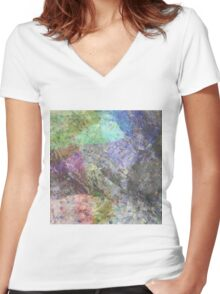 Multi Coloured Abstract Painting Women's Fitted V-Neck T-Shirt
