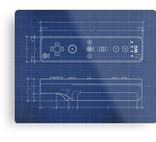 Wii Remote Blueprint Metal Print